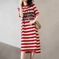Round Neck Stripes Printed Half Sleeves T-Shirt Dress - Red