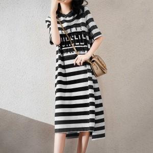 Round Neck Stripes Printed Half Sleeves T-Shirt Dress - Black