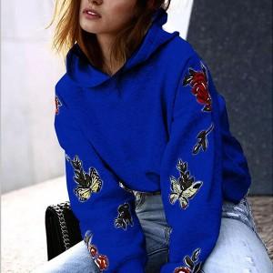 Floral Thread Art Loose Wear Hoodie Top - Blue