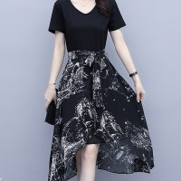 Graphic Printed Stars Party Wear A-Line Irregular Dress
