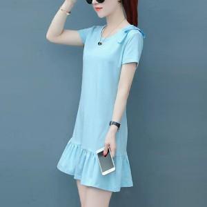 Frilled Hem Short Sleeves Mini Dress - Blue
