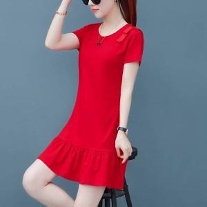 Frilled Hem Short Sleeves Mini Dress - Red