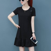 Frilled Hem Short Sleeves Mini Dress - Black