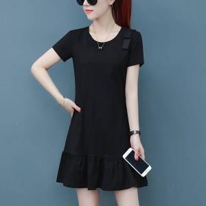 Frilled Hem Short Sleeves Mini Dress - Black