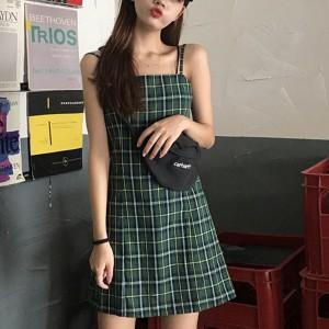 Strapped Shoulder Geometric Printed Mini Dress - Green