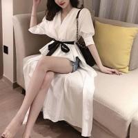 Irregular Crop Hem Sexy Wear Coat Dress - White