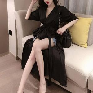 Irregular Crop Hem Sexy Wear Coat Dress - Black