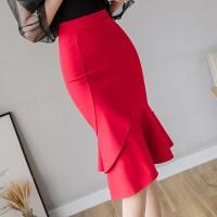 Frilled Hem Irregular Body Fitted Solid Skirt - Red