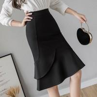 Frilled Hem Irregular Body Fitted Solid Skirt - Black