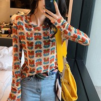 Printed Thin Fabric Slim Outwear Tops - Multicolor