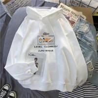 Printed Alphabet Hoodie Loose Wear Top - White
