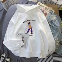 Cartoon Printed Hoodie Loose Wear Top - White