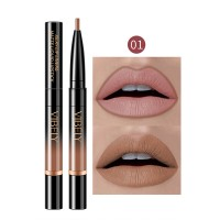2 In 1 Matte Waterproof Long Lasting Dual Use Lip Liner  01 - Coffee