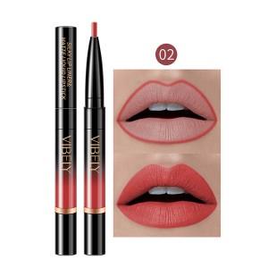 2 In 1 Matte Waterproof Long Lasting Dual Use Lip Liner 02 - Light Red
