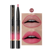2 In 1 Matte Waterproof Long Lasting Dual Use Lip Liner 04 - Pink