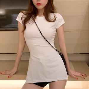 Short Sleeves Fitted Round Neck Top - White
