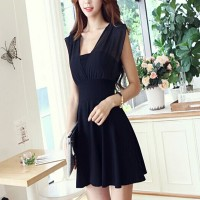 Sleeveless A-Line Solid Mini Dress - Black