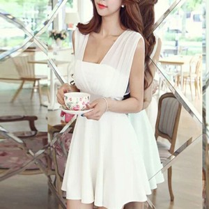 Sleeveless A-Line Solid Mini Dress - White