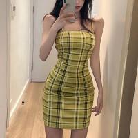 Strapped Shoulder Geometric Printed Mini Dress - Yellow