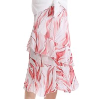 Wavy Prints Irregular Ruffled Skirt - Red