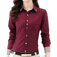 Check Prints Button Closure Fitted Formal Shirt - Wine Red