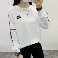 Contrast Casual Wear Full Sleeves Round Neck T-Shirt - White