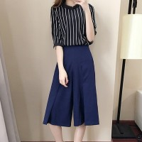 Striped Half Sleeves Two Pieces Suit For Women - Black