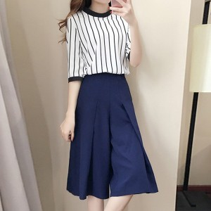 Striped Half Sleeves Two Pieces Suit For Women - White