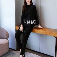 Creative Alphabetic Design Two Pieces Women Suit - Black
