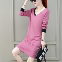 V Neck Full Sleeved Solid Mini Dress - Pink
