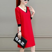 V Neck Full Sleeved Solid Mini Dress - Red