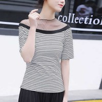 Striped O Neck Short Sleeve Casual Wear Women Top - White