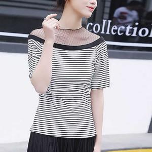 Striped O Neck Short Sleeve Casual Wear Women Top - White