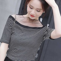 Trendy Striped O Neck Short Sleeve Women Top - Black and White