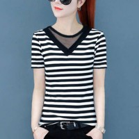 Slim Striped Fashion V Neck Casual Wear Top - Black and White