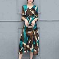 Geometric Prints Half Sleeves Midi Dress - Green