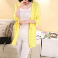 Full Sleeves Women Fashion Winter Long Cardigan - Yellow
