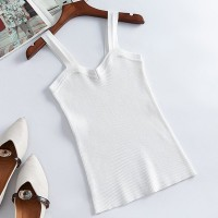 Ribbed Strap Shoulder Fitted Mini Top - White