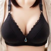 Mesh Pattern Padded Sexy Wear Bra - Black