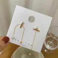 Women Alloy Chain Pearl Simple Earrings - Golden