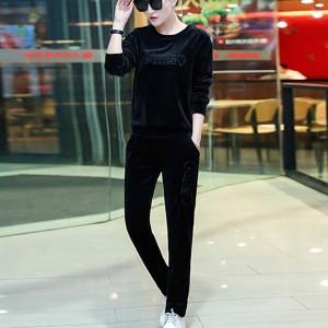 Trendy Velvet Round Neck Two Pieces Women Suit - Black