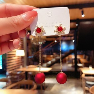 Fashion Girls Crystal Snow Long Earrings - Red