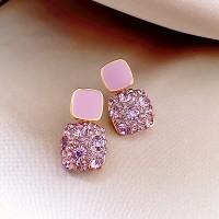 Girls Simple Wild Purple Crystal Earrings - Light Purple