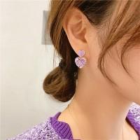 Girls Simple Wild Purple Crystal Heart Earrings - Light Purple