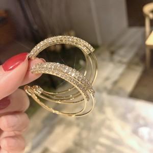 Girls Simple Wild Rhinestone Big Circle Earrings - Golden