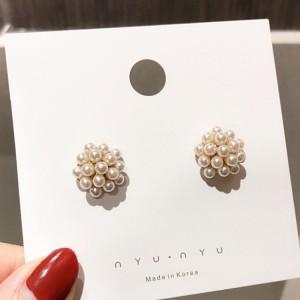 Girls Simple Wild Pearl Ball Earrings - White