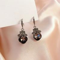Girls Simple Wild Crystal Earrings - Silver
