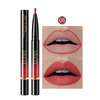 2 In 1 Matte Waterproof Long Lasting Dual Use Lip Liner 06 - Wine Red