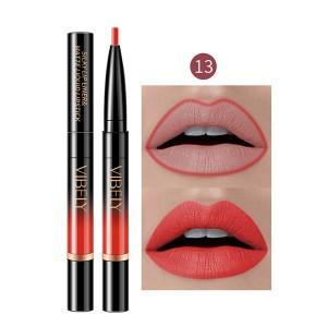 2 In 1 Matte Waterproof Long Lasting Dual Use Lip Liner 13 - Red