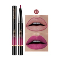 2 In 1 Matte Waterproof Long Lasting Dual Use Lip Liner 15 - Purple